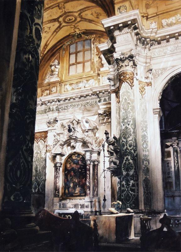 Архитектор-акварелист Paul Dmoch. La beauté du detail à l'intérieur de Gesuiti à Venise 165 x 125