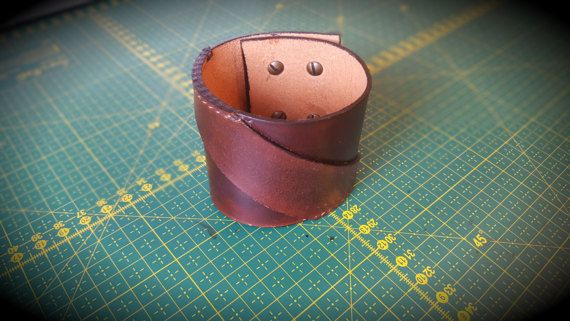 Brown Slash-Type leather bracelet by CrusaderArmoury on Etsy