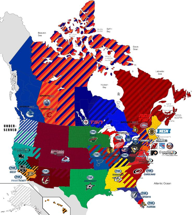 Nhl Tv Markets Map It Shows Who Covers What Team In Which Areas Nhl What Team Division