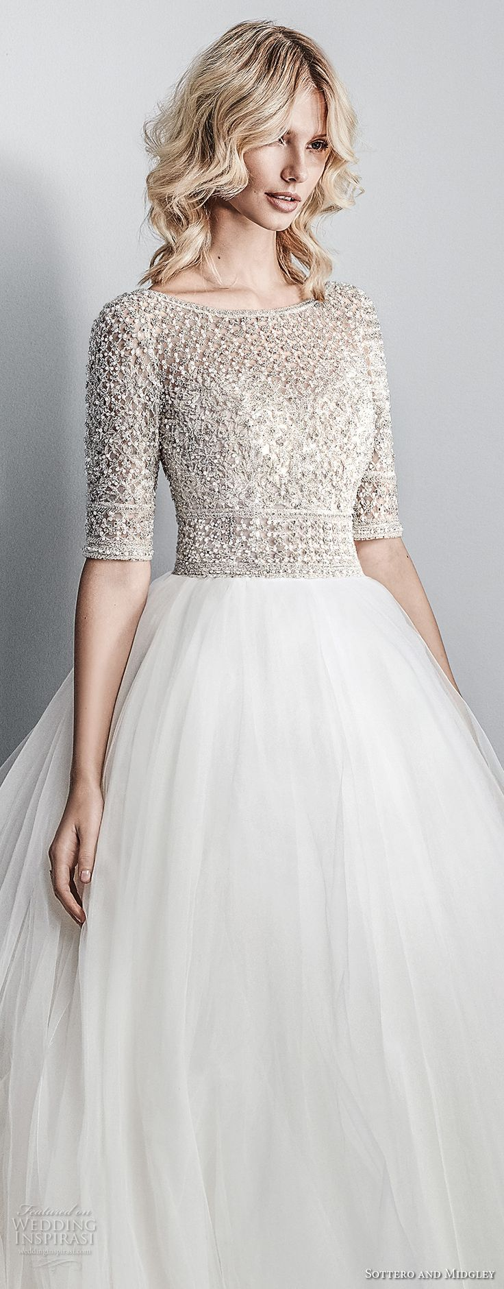 sottero midgley fall 2017 half sleeves bateau neck heavily embellished beaded bodice tulle skirt romantic glamorous a line wedding dress open square back chapel train (611) zv -- Sottero and Midgley Fall 2017 Wedding Dresses