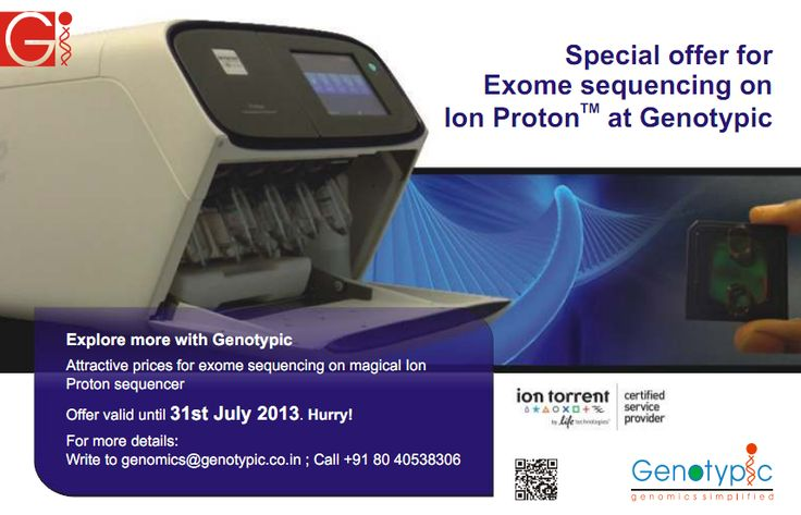 Human exome sequencing at never before prices.   More information available at http://www.genotypic.co.in/Genotypic-Specials/27/-Ion-Proton-TM-Sequencing-promotions-July-2013-Exome-Sequencing.aspx.    To Avail the offer Register here with the promotional code PIPE7 http://www.genotypic.co.in/EnquiryForm.aspx?QT=F&=2=Ion-Proton-Exome-Sequencing