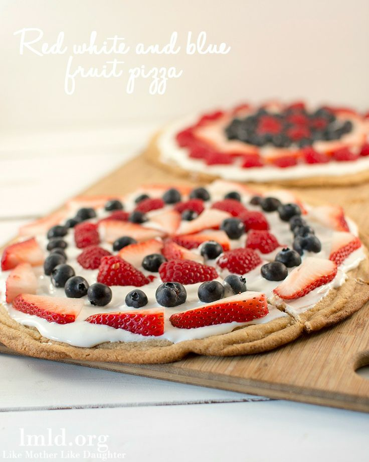 This simple red white and blue fruit pizza would make a great treat for your upcoming Memorial Day or Fourth of July BBQ or Picnic