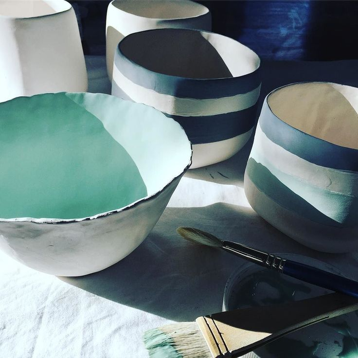 Stripes and turquoise are happening on the glazing table today #handpainted #nicolahartstudios