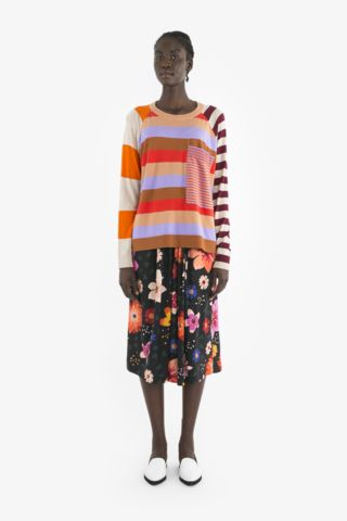 FREDI SWEATER and LOIS SKIRT from Obus Spring17 | A raglan-sleeve Obus cotton knit sweater with contrast stripes on the back, front, sleeve and pocket.