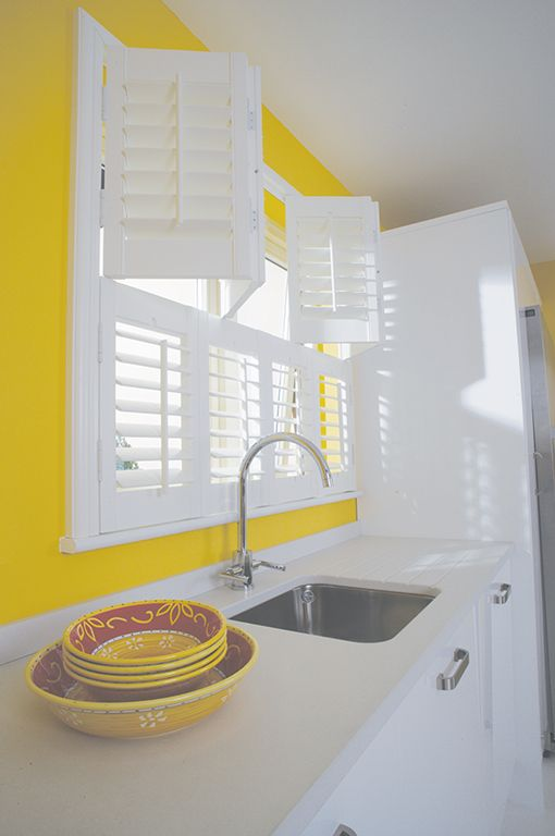 White Plantation Shutters, Tier On Tier Shutters In Kitchen. Bright White  Shutters In Bright