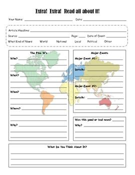 Here's a news response sheet for students to fill out and keep up-to-date with current events. (free). Perfect for TFK