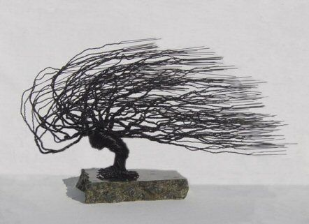 Please allow up to 14 days for delivery.Made of 22 gauge black steel wire.  The sculpture is created using 22 gauge wire for a finer texture.  The sculpture is mounted onto the base using a bonding agent.  The base is a thick, mined, polished granite stone with small circular felt pads glued beneath.