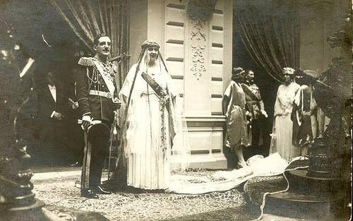 Princess Marie of Romania and groom King Alexander I of Yugoslavia on their wedding day, 8 June 1922.