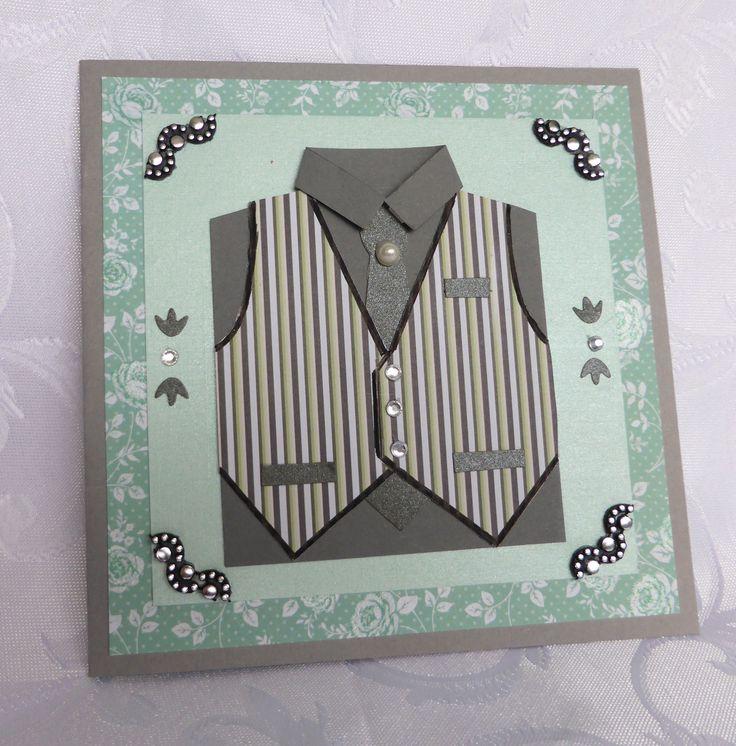 Carte double pour homme coloris gris moyen avec une chemise gris anthracite avec cravate et gilet : Cartes par michedeco