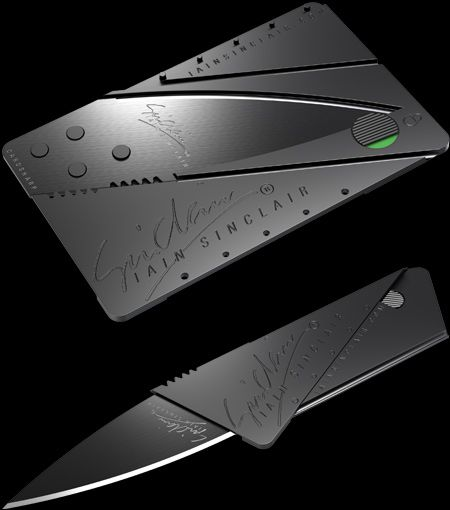 Ultra thin & credit card gadgets - knive CardSharp 2 – new improved superlight and supersharp utility knife, size of a credit card. Updated features include stiffer, polypropylene body (living hinges guaranteed for life) and unique safety lock (cannot open in pocket or drawer and child proof). Just three ingenious folding operations metamorphosise the card into an elegant pocket utility tool. Slimmer and lighter than an ordinary knife.