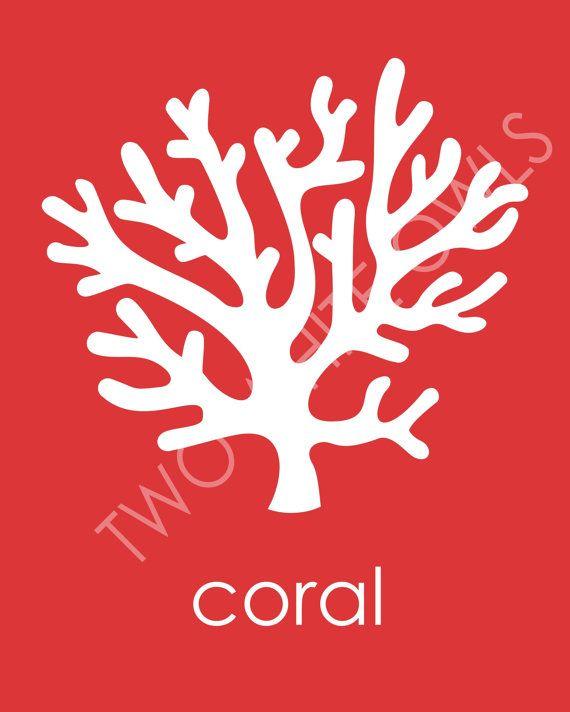 Disegni dei bambini di stampa nautico corallo mare di twowhiteowls