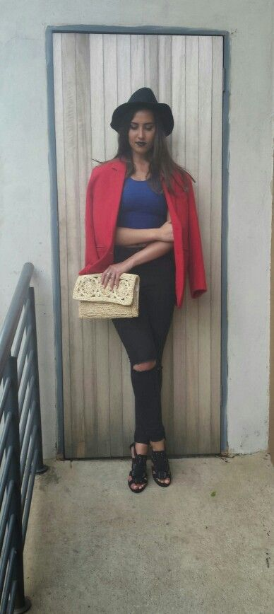 Red blaser,high waisted denim with blue crop top. Worn with gladiator heels and a fedora hat.  Cloudy Days by www.feliciadebeer.co.za