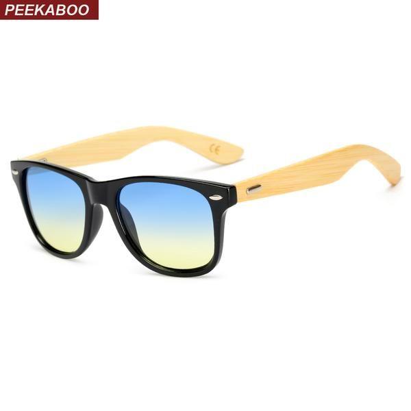 #DealOfTheDay #FASHION #NEW Peekaboo women bamboo sunglasses men blue yellow lens black cheap sun glasses for women bamboo uv400