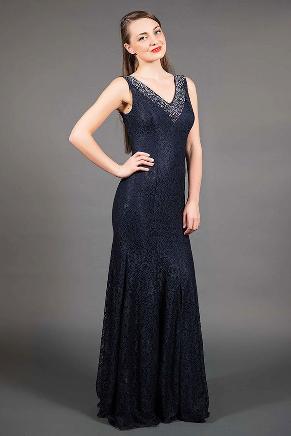 Navy Blue Lace Evening Gown/