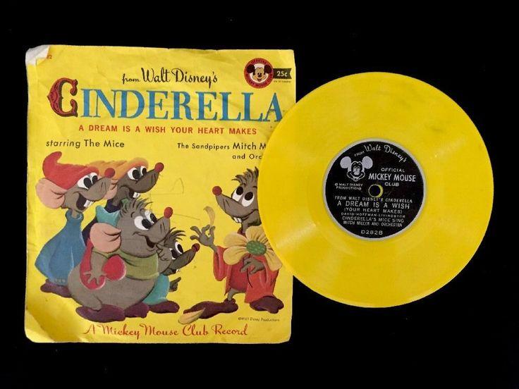 Vintage Walt Disney's Cinderella Mickey Mouse Club Record A Dream 45   | eBay