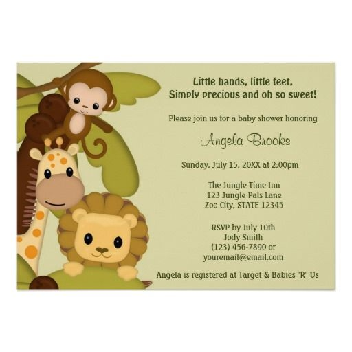 best baby shower jungle/safari invitations images on, Baby shower