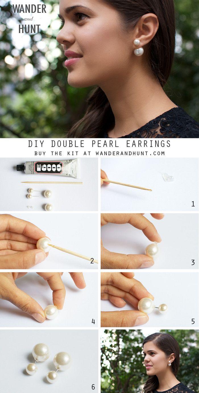 DIY Double Pearl Earrings | Wander Hunt DIY Supplies Can't afford $410 Dior pearl earrings? Lol DIY