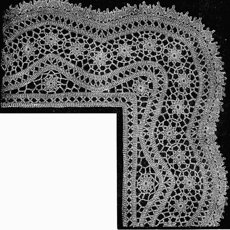 FIG. 473. LACE WITH CORNERS FORMED BY DECREASING ON THE INSIDE.
