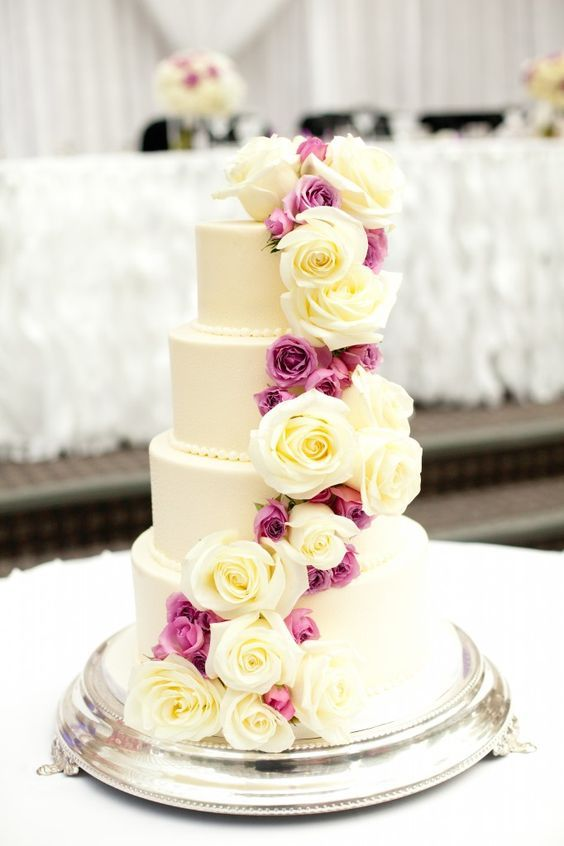 Romantic pink and white rose wrapped white wedding cake; Featured Photographer: Amara Photography