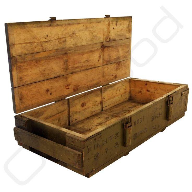 Oude legerkisten, munitiekisten, houten koffers - Oldwood - De Woonwinkel