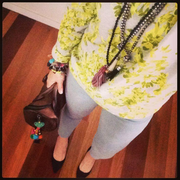 JCrew Sweater, Alexander Wang Rocky bag, AG jeans, Witchery black suede pumps