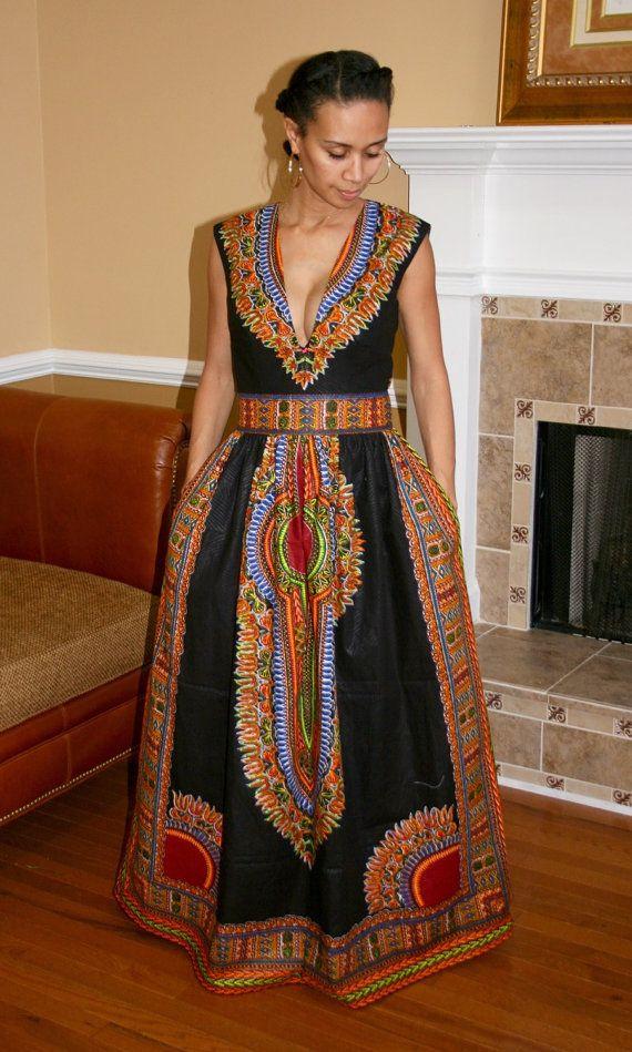 Dashiki Maxi Dress by MelangeMode on Etsy