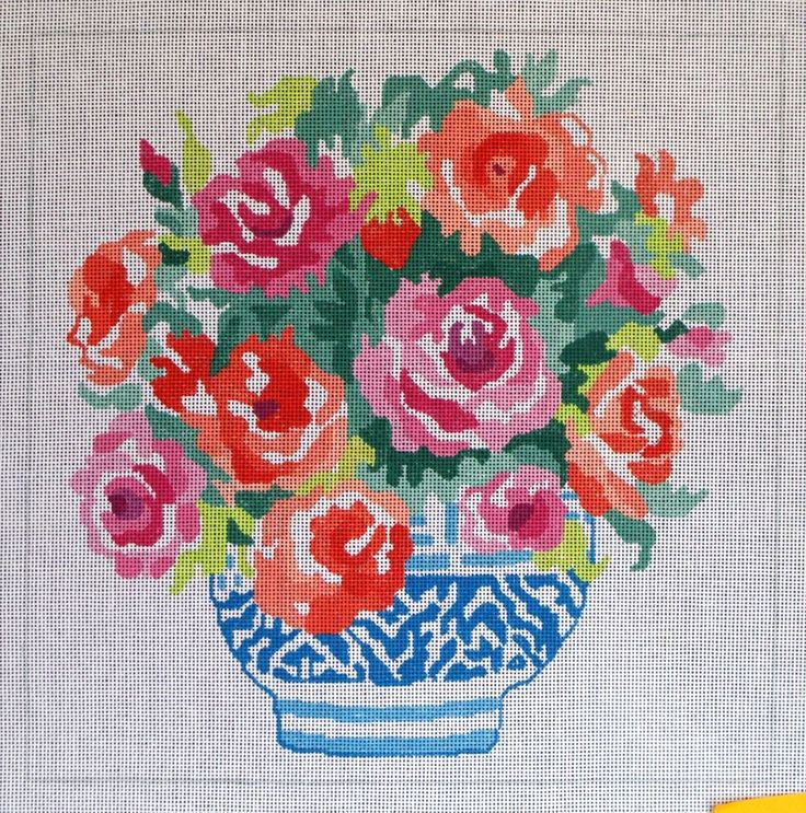 Jean Smith HP Roses Needlepoint 14 ct canvas #Doesnotapply