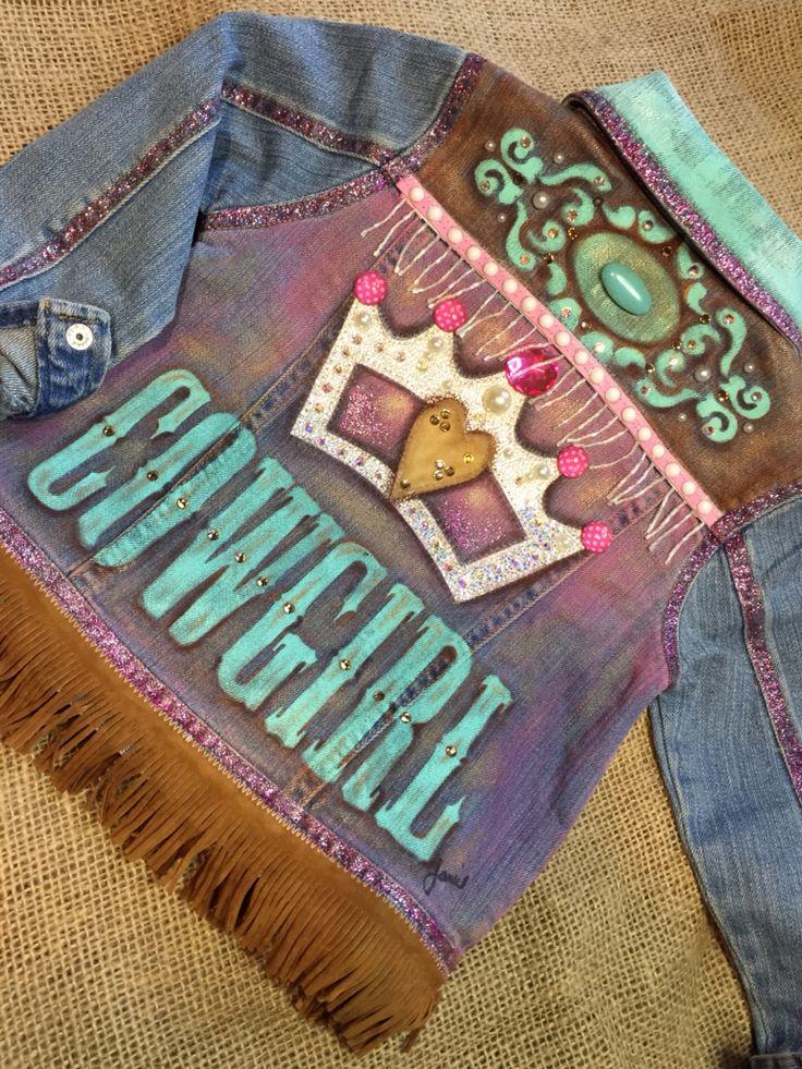 Custom order. Cowgirl Princess. Hand painted toddler denim jacket.