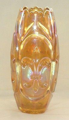 "RARE Marigold Carnival Glass Vase Fleur de Lis Inwald 10 5"" Mint Condition | eBay"
