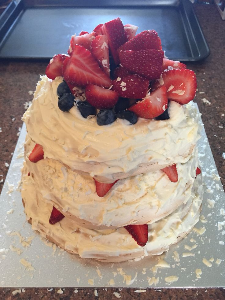 3 Tier Pavlova cake for my darlings' birthday. Still need to perfect the meringue but otherwise a great attempt!