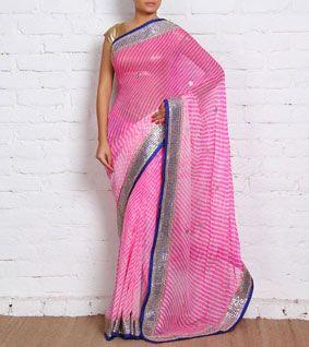 Pink Georgette Lehariya Saree with Gota Patti
