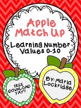FREE Apple Match Up: Learning Number Values 0-10