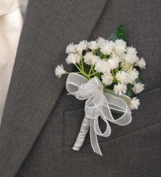 Grooms Artificial Ivory Gypsophila Babies Breath Wedding Buttonhole with Ivory Organza Ribbon Bow