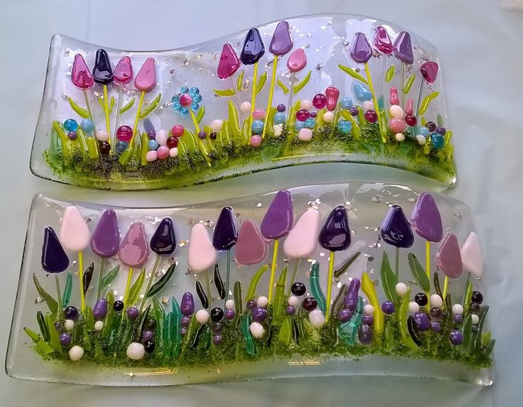 Fused glass tulip waves.