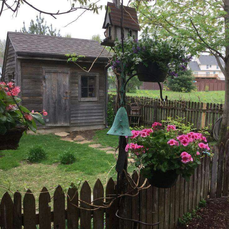 garden shed with fence - Rustic Garden 2015
