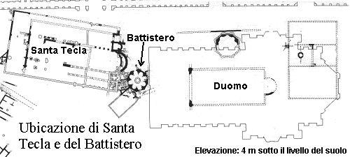 Santa Tecla, Battistero di S. Giovanni alle Fonti, Campanile ottagonale, Cattedrale carolingia de S. Maria Maggiore et la basilica vetus con il primo battistero all'interno.