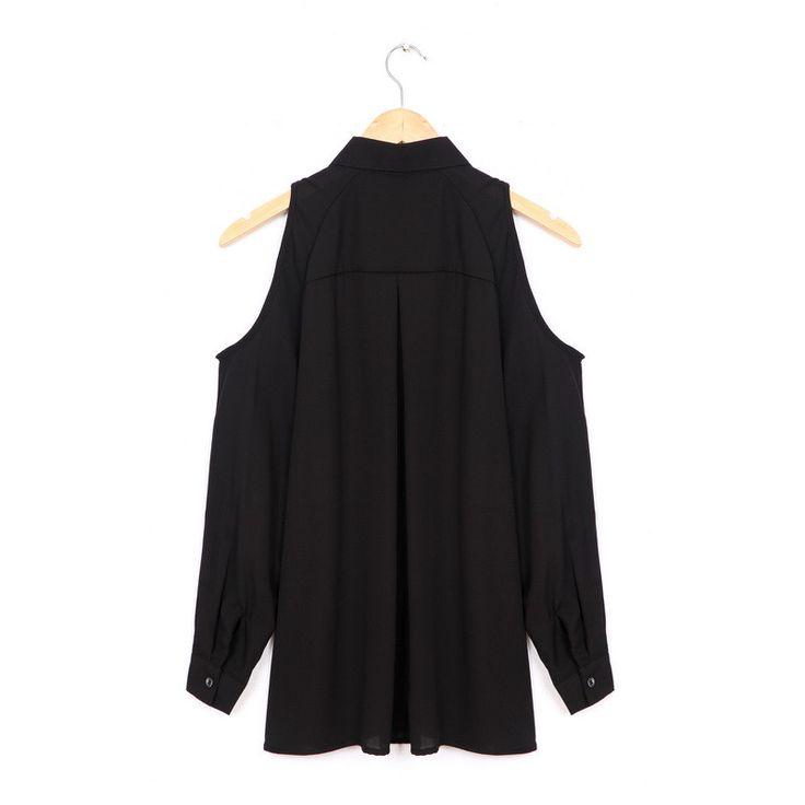 Mujeres-hombro-camisas-largas-gasa-sexy-tops-turn-down-collar-blusa-Blusas-Femin