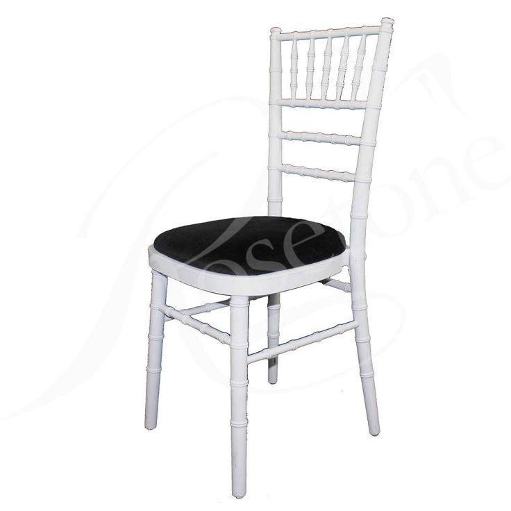 White Chiavari Wedding Chair with Black Seat Pad