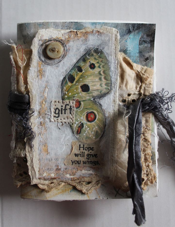 "Fabric art journal cover. Well, doesn't this remind me to finish the cover on the larger journal I""m working on."