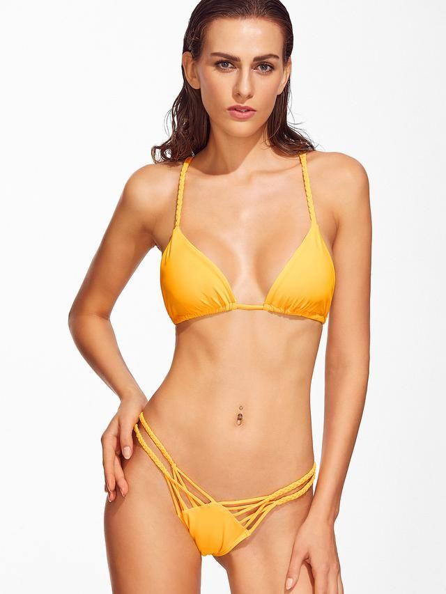 Braided Detail Strappy Back Bikini Set