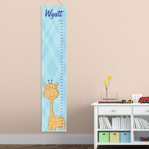 Personalized Boys Growth Chart Blue w/Giraffe  Kids grow up so quickly! Use our Personalized Kids Height Chart Canvas to track their progress. These kid-friendly charts are a perfect accent for their bedroom or playroom wall. #ad