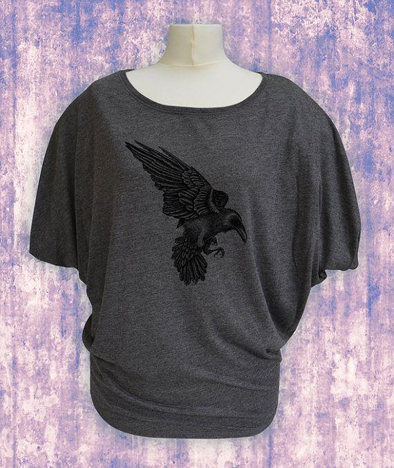 Raven t-shirt in Dark Grey. Flowy dolman sleeve tshirt. Handprinted raven t-shirt. Black raven top. Batwing top. Loose wide neck top.