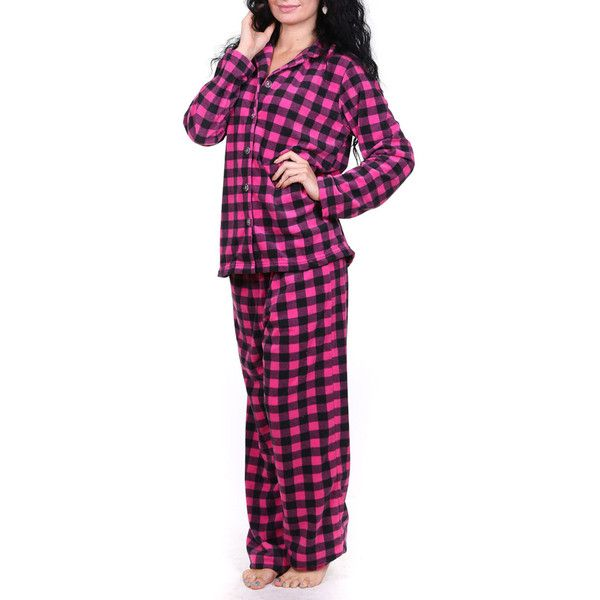 Totally Pink 2-Piece Micro Fleece Pajama Set ($21) ❤ liked on Polyvore featuring plus size women's fashion, plus size clothing, plus size intimates, plus size sleepwear, plus size pajamas, plus size, red, red pajamas, micro fleece pajamas and long pajamas