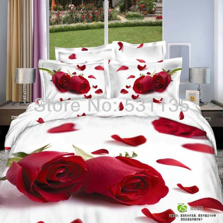 Красная роза комплект постельных принадлежностей 3d печать 4 шт. Одеяла/Одеяло/Одеяло/постельное белье наборы покрывало белый кровать листы для Королева король размер