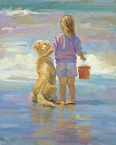 Golden girls, canvas giclee, blonde girl and her golden retriever at the beach, impressionism, figure, girls bedroom, Lucelle Raad Art