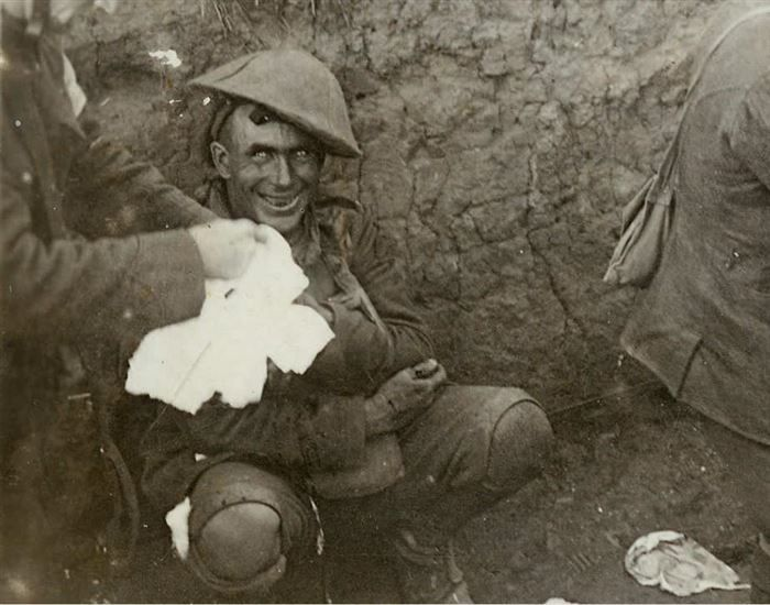 Pictured below is a shell-shocked soldier in a trench in 1916, during the Battle of Courcelette. Shell shock is the trauma of continuous bombardment that causes panic, inability to reason, sleep, walk or talk. Often, they lose their self control entirely.