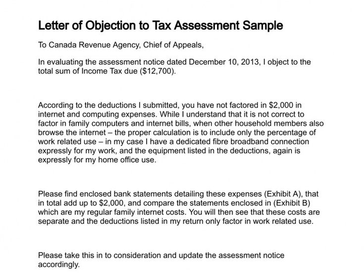 Image result for tax reduction letter sample