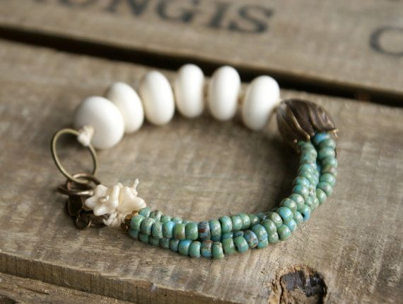 Flourish Beaded Bracelet. Waxed Linen by GillsHandmadeJewels, £22.00
