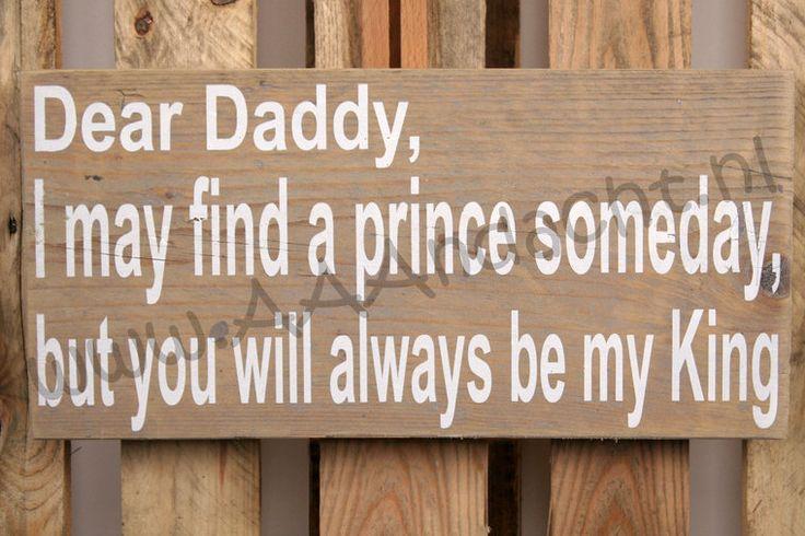 Steigerhouten tekstbord dear daddy - aaandacht