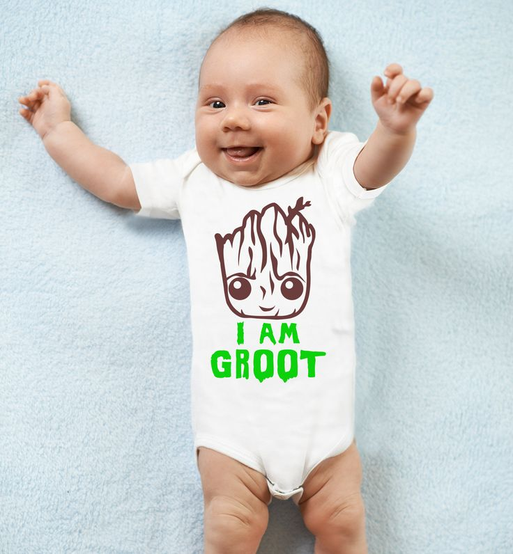 I am Groot baby's white bodysuit baby grow vest. by MumKnowsBabyGrows on Etsy